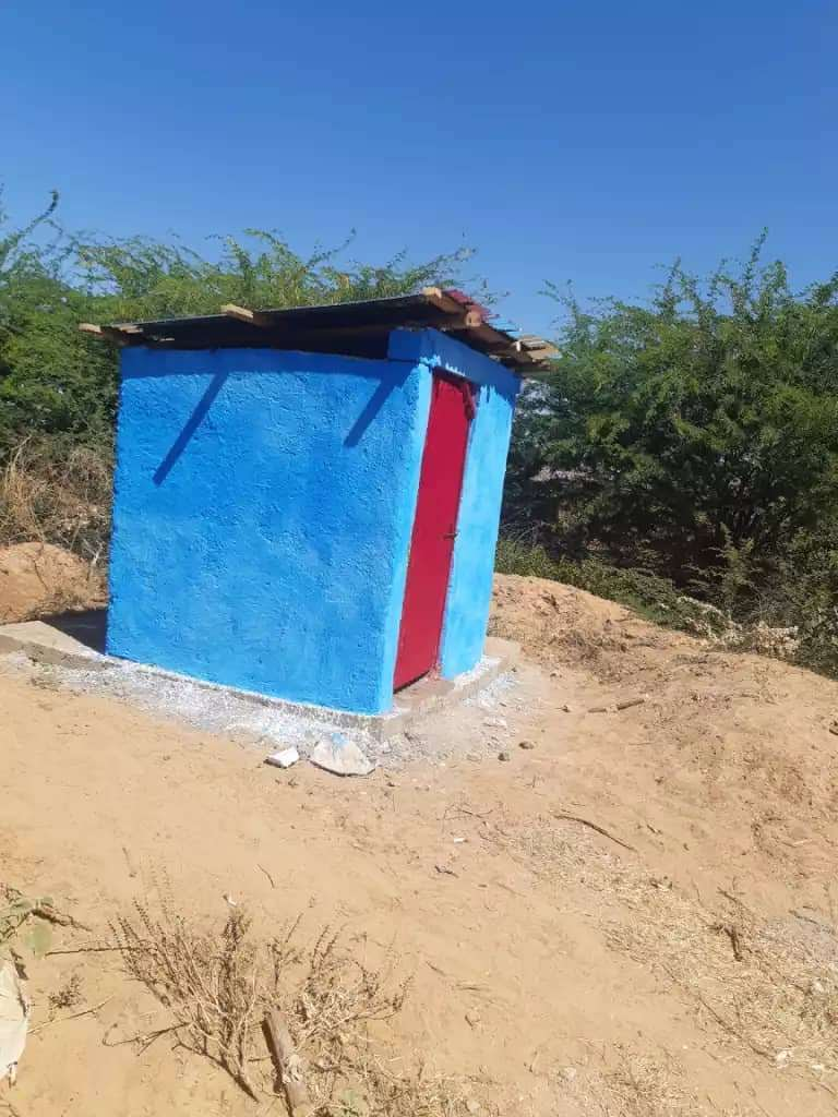 outhouse painted blue