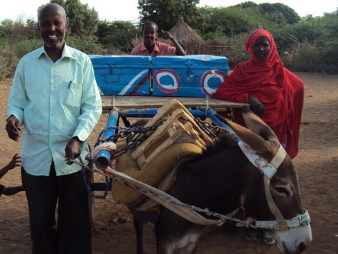 Man standing beside donkey pulling cart with school supplies
